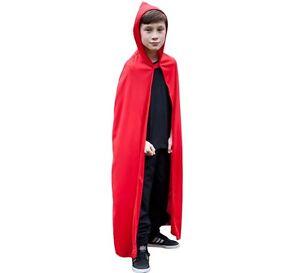 Costume Bambino con Cappuccio Mantello Rosso Bambini Childs Red Riding lungo mantello NUOVO