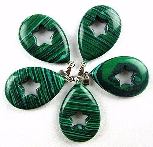 5PCS Beautiful unique black green malachite teardrop pendant bead Vk1237