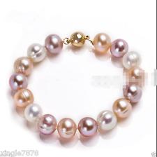 "9-10mm Genuine Natural Multicolor Freshwater Akoya Pearl Bracelet 7.5"""