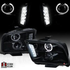 For 2005 2009 Ford Mustang Black Smoke Led Halo Projector Headlights Head Lamps Fits Mustang