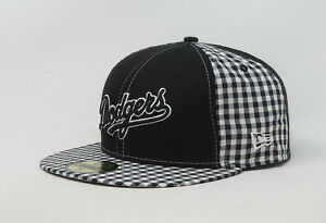 New Era 59Fifty Hat Mens MLB Los Angeles Dodgers Black White Checker Cap Fitted