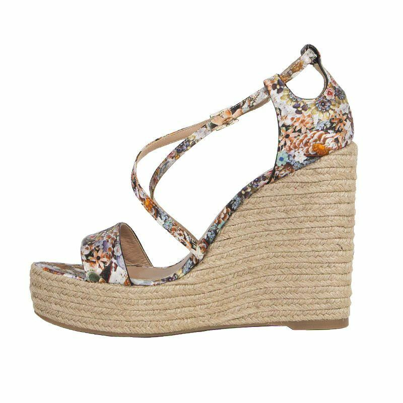 53009 auth TABITHA SIMMONS Sandals multicolor Floral satin Wedge Sandals SIMMONS schuhes 38 c90bf0
