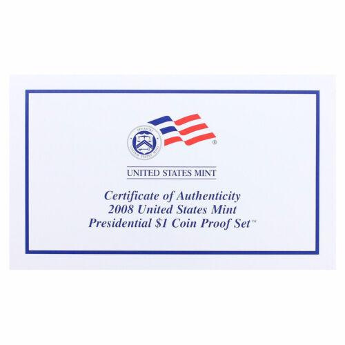 2008 S Presidential Dollar Proof Set 4 Coins Original Box /& COA