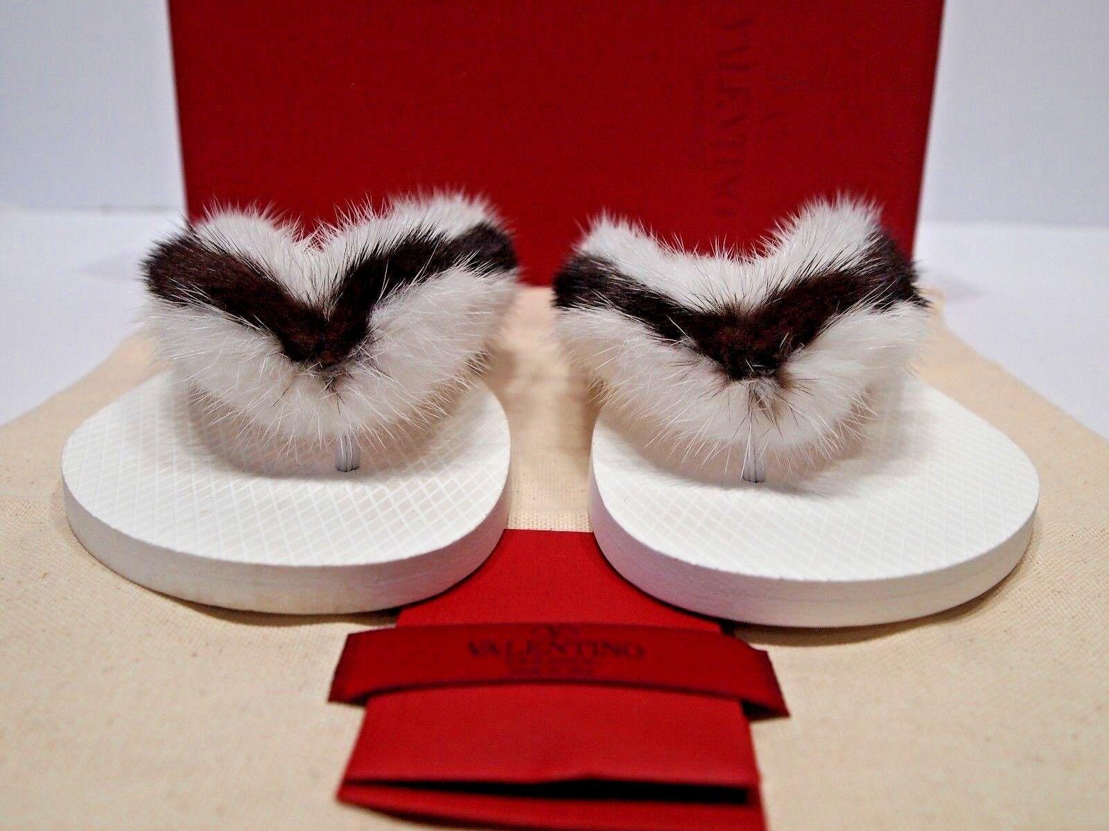 New Valentino Garavani  Two-Tone Flat Mink Fur Thong Slide Sandal  41   10.5-11