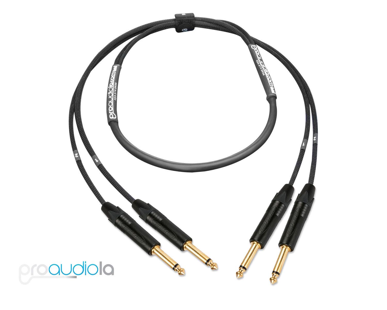 Premium 2 Channel Mogami 2930 Instrument Cable   Neutrik Gold TS to TS   6 ft.