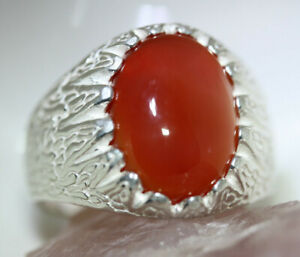 AMAZING-MEN-039-S-10-CT-OVAL-CAB-CARNELIAN-AGATE-STERLING-SILVER-RING-SZ-10-US-MADE