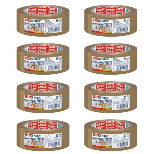 Verpackungsklebeband tesapack® Ultra Strong, 38 mm x 66 m, braun, 8er-Sparpack