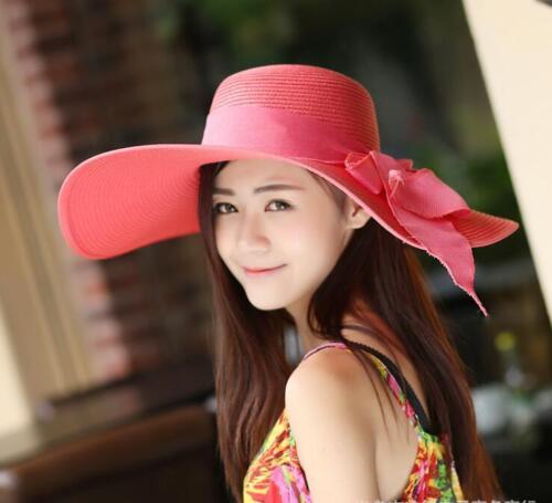 Ladies Women Summer Sun Beach Floppy Derby Hat Wide Large Brim Straw Foldable