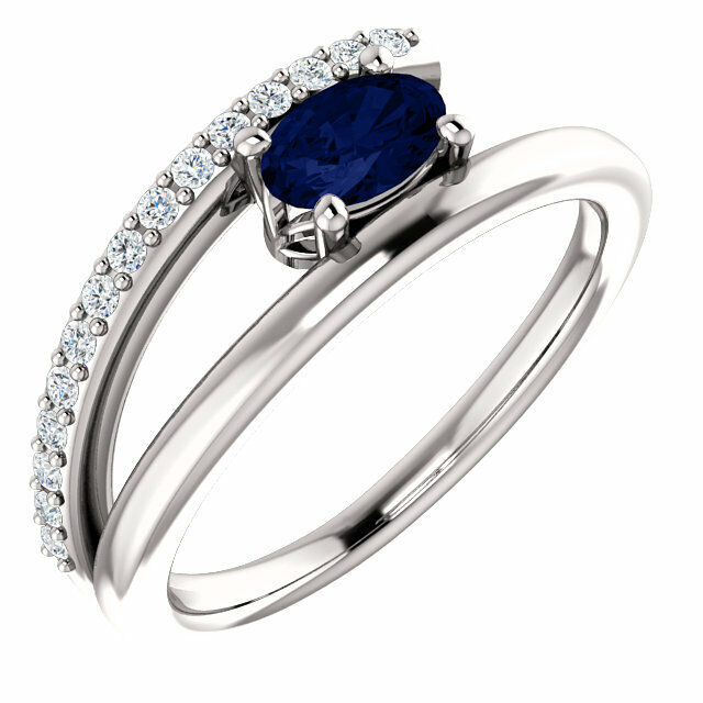 Chatham® Created bluee Sapphire & 1 8 CTW Diamond Bypass Ring In 14K White gold