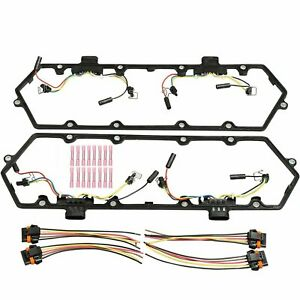94-97 Ford 7.3 7.3L Powerstroke Diesel Valve Cover Gaskets w// Glow Plug Harness