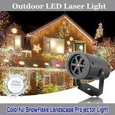Outdoor Moving Snowflake LED Laser Light Projector Landscape Xmas Garden Lamp