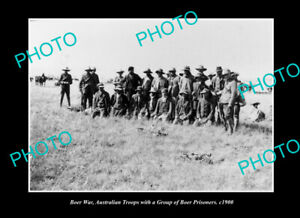 OLD-POSTCARD-SIZE-PHOTO-AUSTRALIAN-BOER-WAR-TROOPS-WITH-PRISONERS-c1900