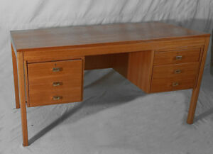 Image Is Loading Vintage Danish Teak Mid Century Modern Flat Top