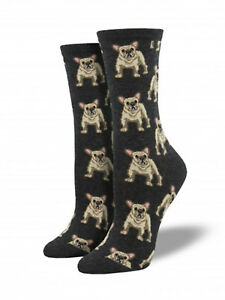 French Bulldog Dog Socks - Charcoal - SockSmith Cotton Womens