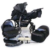 Sale Baby Pram Stroller Pushchair + Car Seat Carrycot 3in1 Swivel Travel System