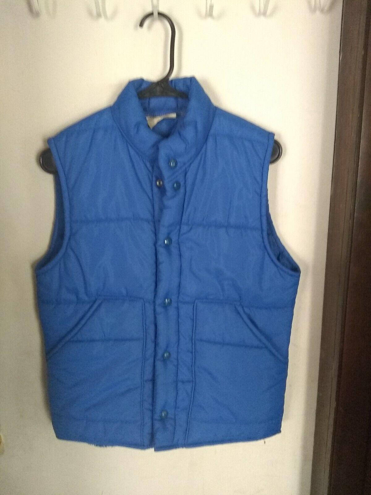 MENS VTG 70s King Louie Pro Fit Puffer Vest bluee Size 36-38 (S) Snaps USA