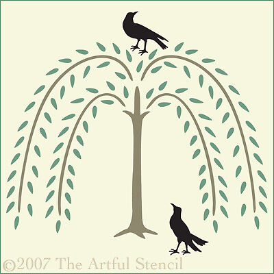 WILLOW TREE WITH TWO CROWS STENCIL The Artful Stencil
