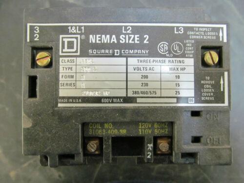 Square D 8502 SDO 2 S A NEMA Size 2 120 V Contactor