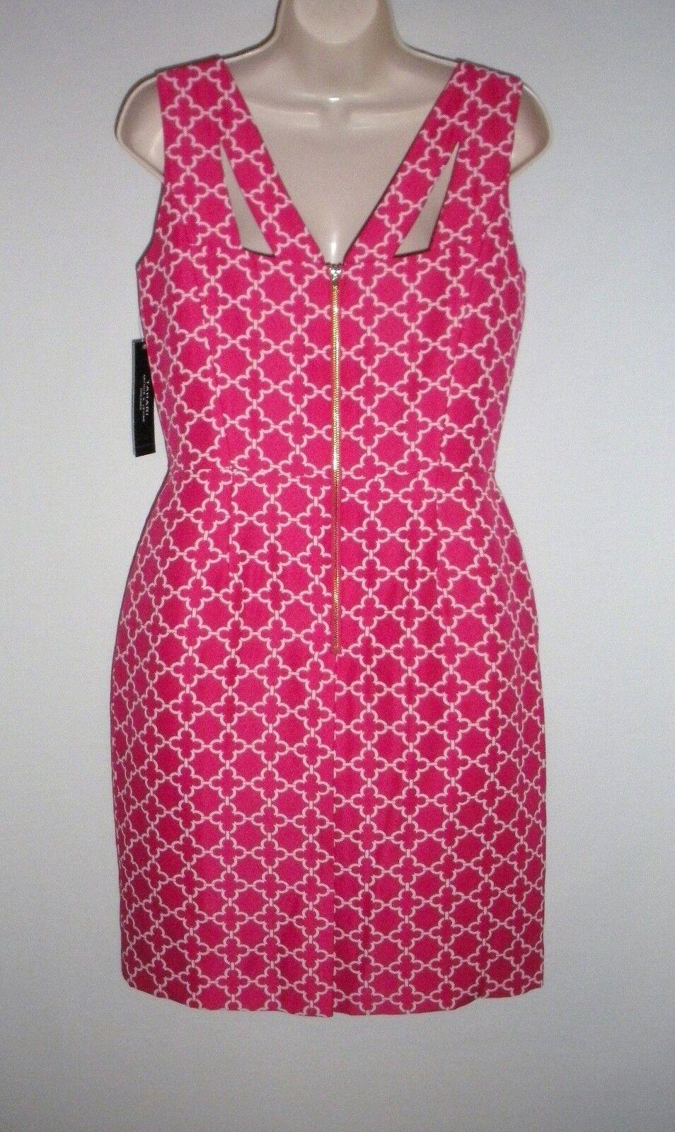 NWT MSRP MSRP MSRP  128 - TAHARI by ASL Geometric Print Sheath Dress, Strawberry 76337e