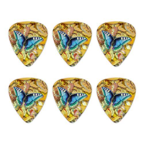Set of 6 Be Unique Blue Gold Butterflies Novelty Guitar Picks Medium Gauge
