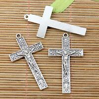 8pcs tibetan silver plated crucifix charm pendant EF1991