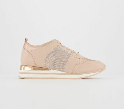 Womens Office Follow Lace Up Runners Nude Mix Trainers Shoes