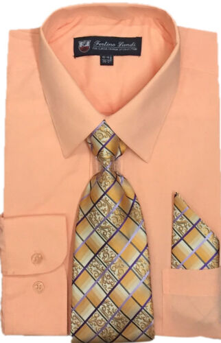 Men/'s Basic Dress Shirt with Tie and Handkerchief Multiple Color SG21B