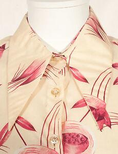 Annees-70-francais-Vintage-Fete-Fleur-Imprimer-shirt-UK-14