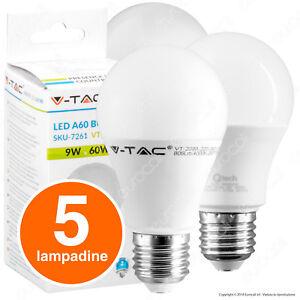 5-LAMPADINE-LED-V-Tac-Bulbo-E27-da-9W-a-20W-Lampade-Luce-Calda-Naturale-Fredda