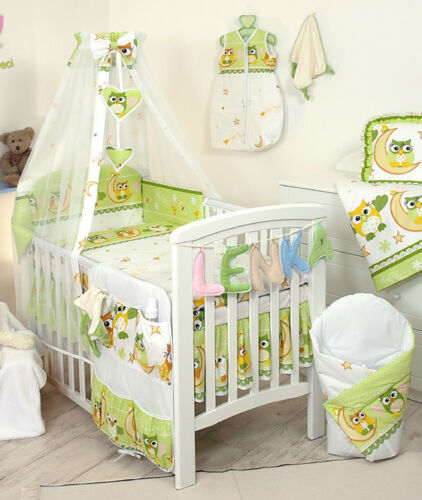 more BABY BEDDING SET COT COT BED 3,5,9 Pieces PILLOW DUVET COVER BUMPER CANOPY