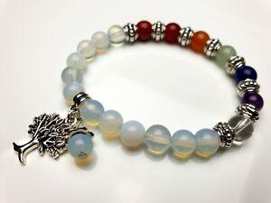 Mondstein-Edelstein-Armband-Perlen-elastisch-Stretch-Baum-des-Lebens-8-mm