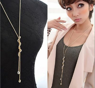 Women Jewelry Fashion Crystal Snake Pendant Long Chain Necklace Gold Plated Gift
