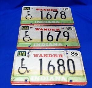 Lot-Of-3-Vintage-1985-Wander-Indiana-License-Plates-Handicap-Sequential-Hoosier