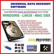 RECOVER OVER 400 DIFFERENT FILE TYPES - UNIVERSAL SOFTWARE USB PC LAPTOP DIGITAL