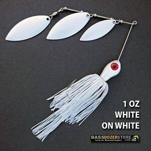 Bassdozer-spinnerbaits-TRIPLE-WILLOW-1-oz-D-WHITE-ON-WHITE-spinner-bait-baits