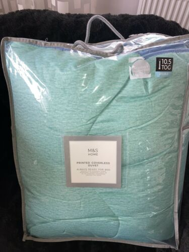 M&S Mint Green Or Coral Printed Coverless Duvet, Double, 10.5tog, New