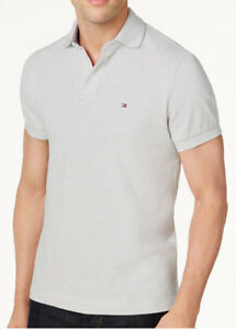 NEW MENS TOMMY HILFIGER CLASSIC FIT LIGHT GREY HEATHER MESH POLO ... f5e59bf844a7
