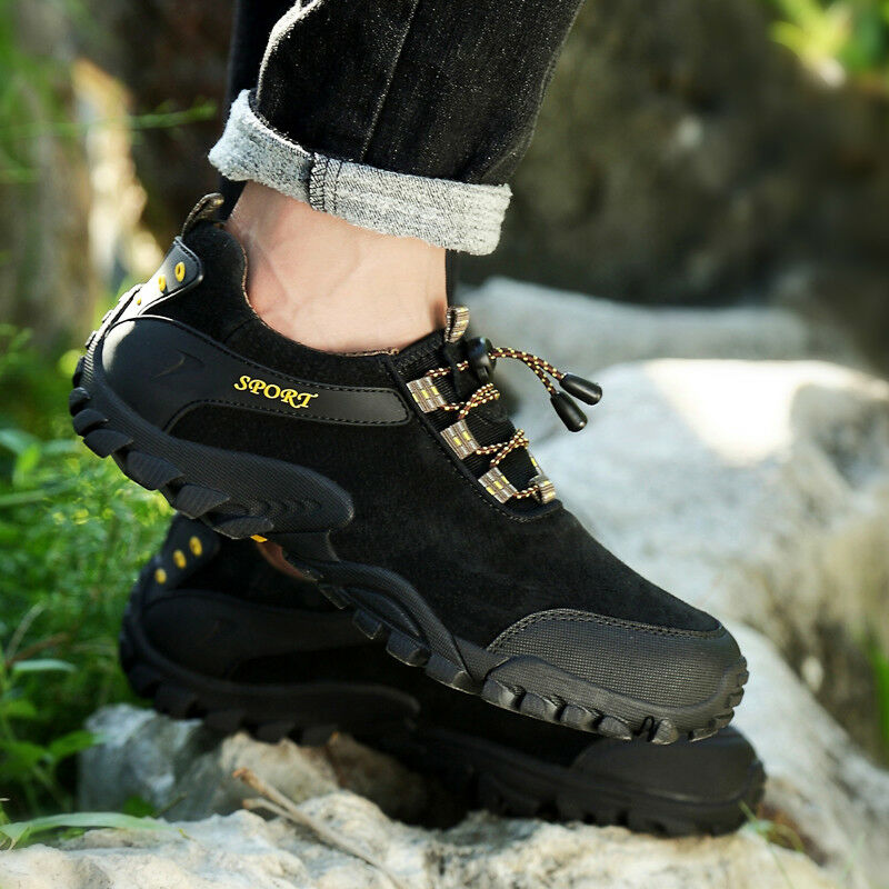Men Big Size Tourism Hiking shoes Genuine Leather Non Slip Outdoor Walking shoes
