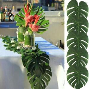 12x-Hawaiian-Kuenstliche-Palm-Green-Blaetter-Dschungel-Laub-Party-Sommer-Dekor-Neu