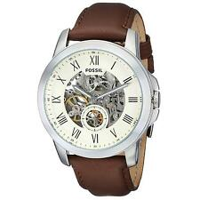 FOSSIL MEN'S GRANT 44MM BROWN LEATHER BAND STEEL CASE AUTOMATIC WATCH ME3052