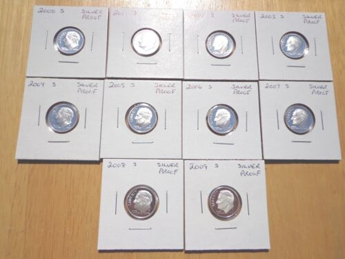 2000 2001 2002 2003 2004-2008 2009 S Roosevelt Silver Proof Dime 10 Coin Set