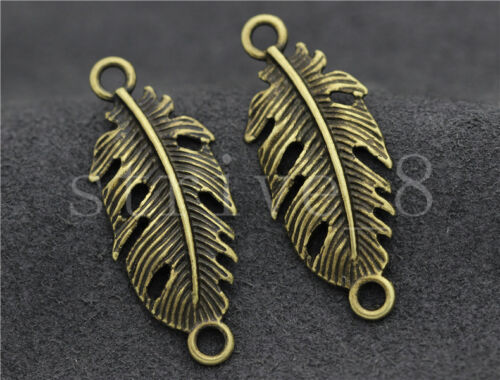 8//30//150pcs Tibetan Silver Exquisite leaves Jewelry Charms Connector DIY 35x14mm