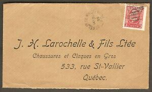 St-Felix-de-Kingsey-postmark-cachet-postal-1935-cover-Larochelle-amp-Fils-Shoes
