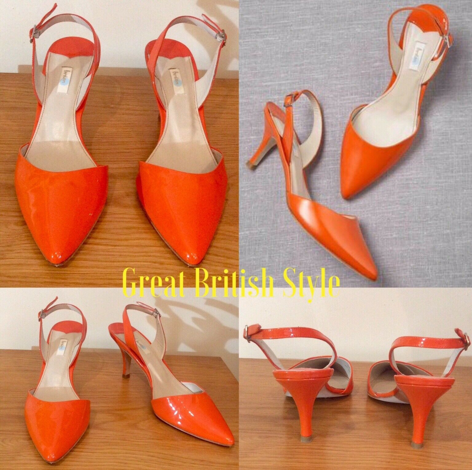 BODEN schuhe Orange PATENT LEATHER SLINGBACKS Größe 40 UK 7 7 7 POINTED TOE LOW HEEL 354814