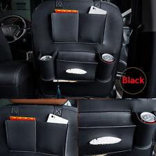 Black Car Seat Back Bag Holder Leather Organizer Storage Cup iPad Phone Pocket