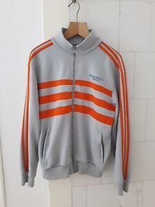 f8f47cb487099 Details about Vintage 80s ADIDAS Zip Track Jacket   Retro Trefoil   Large L  Original Sports