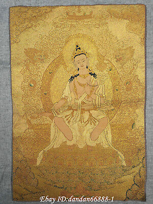 "24/"" Tibet Buddhism Cloth Silk Tara Guanyin Kwan-yin Thangka Embroidery Mural"