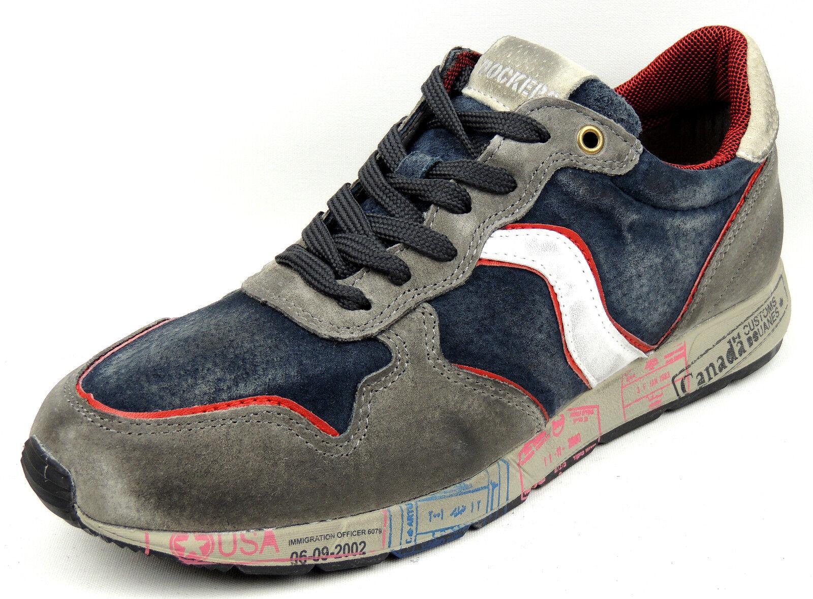 DOCKERS  Herren Schnürer Sneaker  KOMPLETT LEDER  Einlagen geeignet  blau/grau
