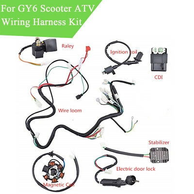 wiring harness kit for atv wiring harness kit electrics wire loom assembly for chinese gy6  wiring harness kit electrics wire loom