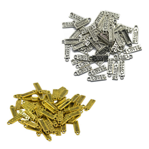 100Pcs Zinc Alloy MADE WITH LOVE Carved Label Charm Pendant Jewelry Finding